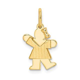 14k Yellow Gold Mini Girl Pendant Charm Necklace Fine Jewelry Gifts