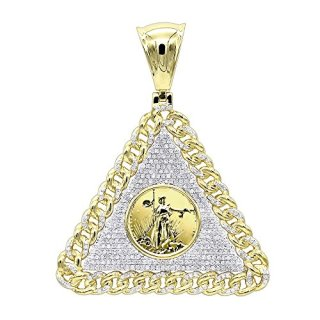 Mens Diamond Pendant 10K Gold Liberty Coin Cuban Link Triangle