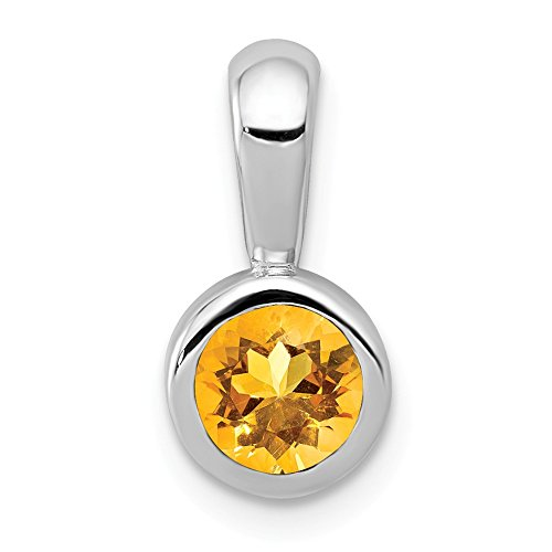 14k White Gold .40 Yellow Citrine Pendant Charm Necklace