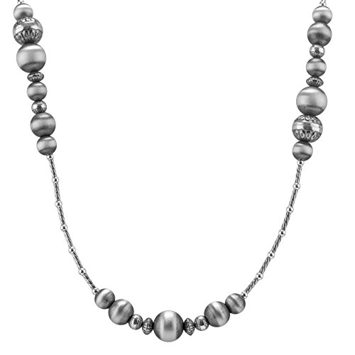 American West Sterling Silver Stamped Native Beaded Necklace