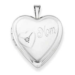 925 Sterling Silver 20mm Mom Diamond Heart Photo Pendant Charm