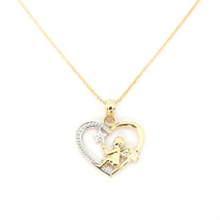 Beauniq 14k Yellow and White Gold Angel in a Heart Pendant