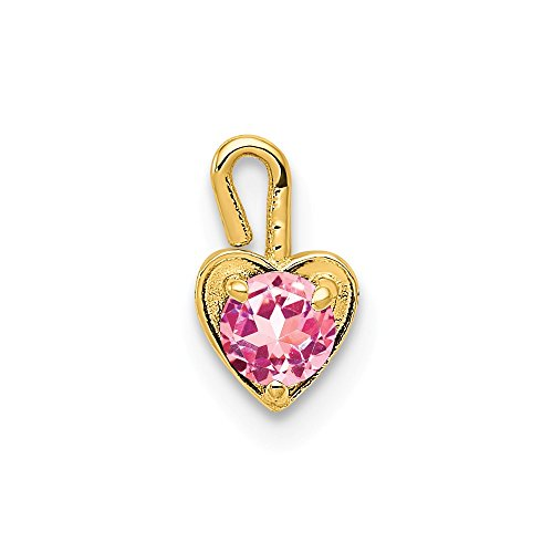 14k Yellow Gold October Synthetic Birthstone Heart Pendant Charm Necklace