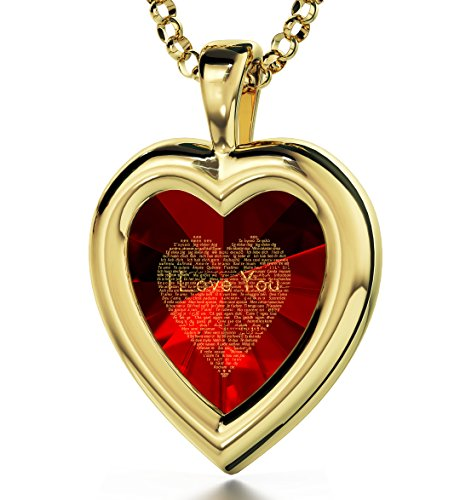 Nano Jewelry Yellow Gold Plated Heart Pendant I Love You Necklace