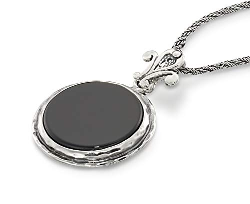 Retro Style Round Black Onyx Pendant Sterling Silver Necklace