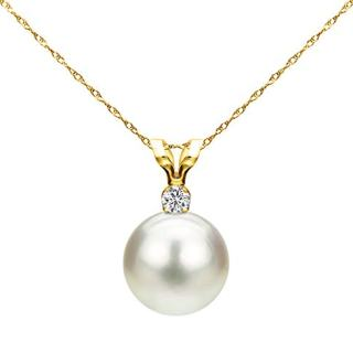 7-7.5mm White Saltwater Cultured Japanese Akoya Pearl Diamond