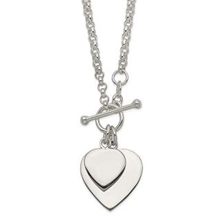 Sterling Silver Double Heart Toggle Chain Necklace Pendant Charm