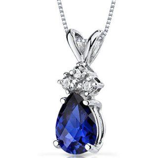 14 Karat White Gold Pear Shape 1.00 Carats Created Blue Sapphire