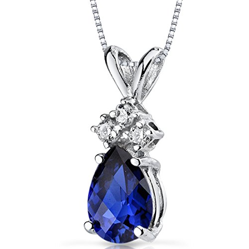 14 Karat White Gold Pear Shape 1.00 Carats Created Blue Sapphire
