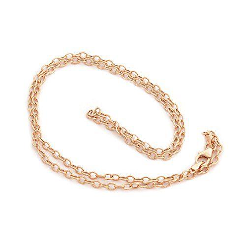 Beauniq 14k Rose Gold 2.6mm Lightweight Textured Link Chain Necklace