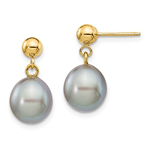 14k Yellow Gold 9mm Grey Rice Freshwater Cultured Pearl Drop