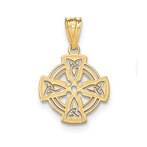 14k Yellow Gold Irish Claddagh Celtic Knot Cross Religious Pendant