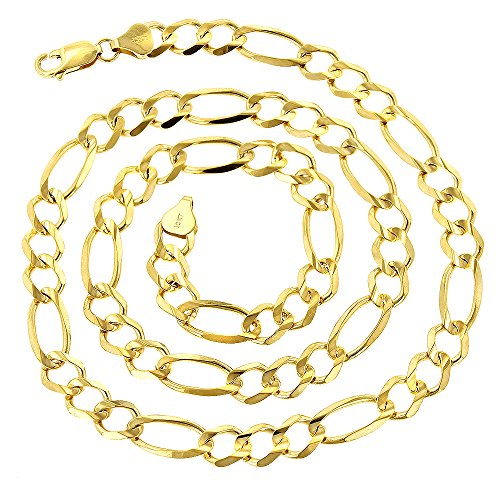 10K Yellow Gold Solid Figaro Chain 8.5mm Diamond Cut Link Necklace