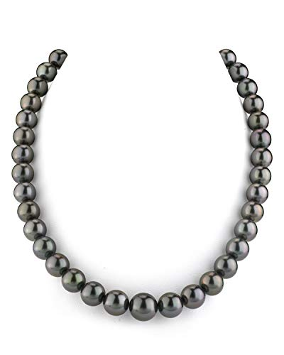 THE PEARL SOURCE 14K Gold 9-11mm Round Genuine Black Tahitian South Sea