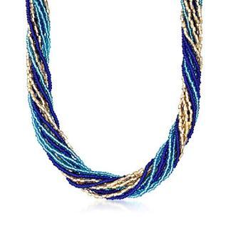Ross-Simons Italian Blue and Golden Murano Glass Bead Torsade Necklace
