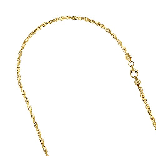 Solid 10K Yellow Gold 3.5mm Wide Rope Chain Diamond Cut Necklace