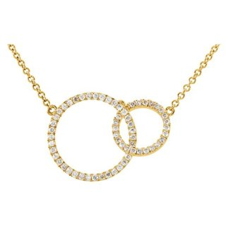 """Jewels By Lux 14K Yellow Gold 1/3 CTW Diamond Circle 18"""" Necklace"""