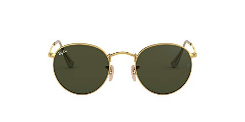 Ray-Ban Round Metal Sunglasses, Gold/Green, 53 mm