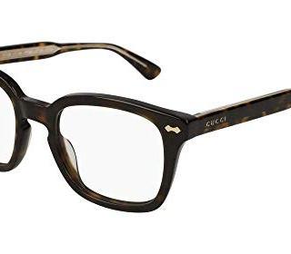 Gucci GG Havana Plastic Square Eyeglasses 50mm