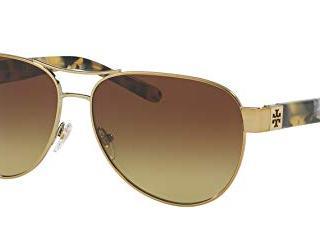 Tory Burch Womens Gold Frame Brown Lens Aviator Sunglasses