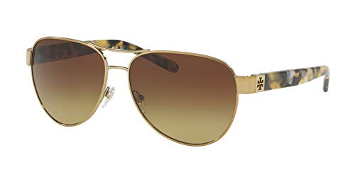 Tory Burch Womens Gold Frame Brown Lens Aviator Sunglasses