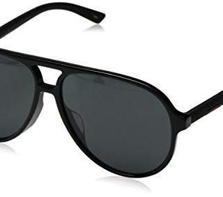 Gucci GG Black Plastic Aviator Sunglasses Grey Lens
