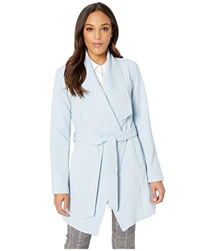 Tahari Women's Shawl Collar Wrap Coat Pale Blue Large