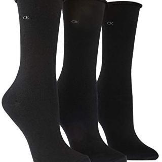 Calvin Klein Women's 3 Pack Cotton Roll Top Crew Socks
