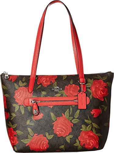 COACH Women's Camo Rose Taylor Tote Silver/Brown