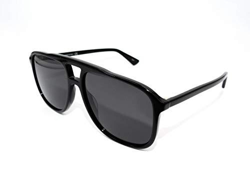 Gucci Black Plastic Aviator Sunglasses Grey Lens
