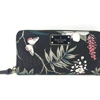 Kate Spade Wilson Road Botanical Floral Neda Nylon Black Wallet