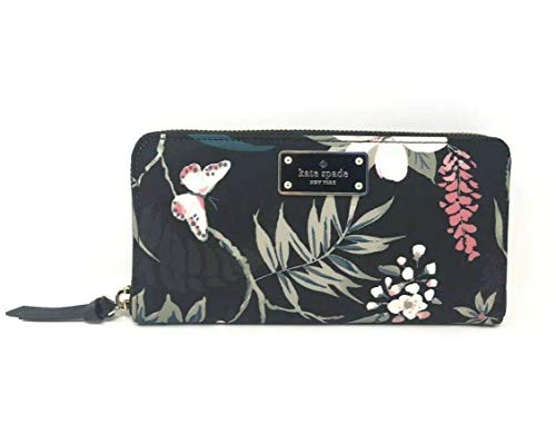 Kate Spade Wilson Road Botanical Floral Neda Nylon Black Wallet