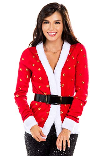 Women's Sequin Mrs. Claus Christmas Sweater - Belted Red Santa