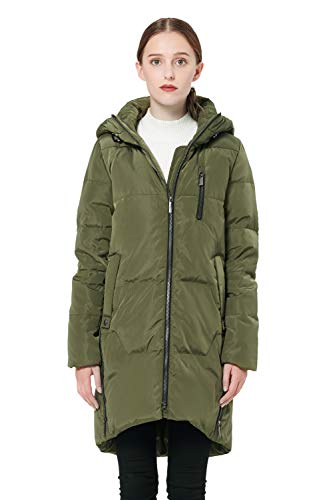 Orolay Women's Stylish Thickened Down Jacket Hooded Coat ArmyGreen XL