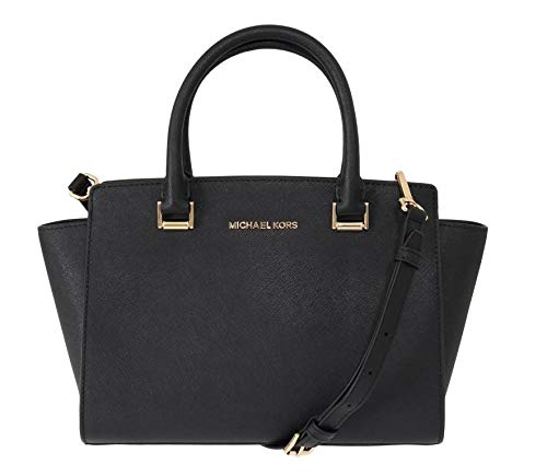 Michael Kors Selma Black Saffiano Leather Medium Top Zip Satchel Bag