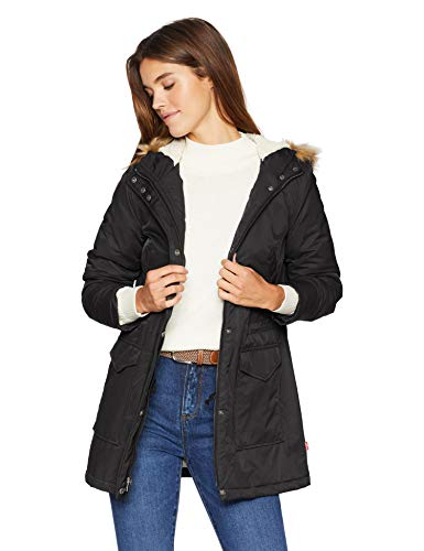 Levi's Women's Performance Sherpa Lined Midlength Parka Jacket, black, X-Large