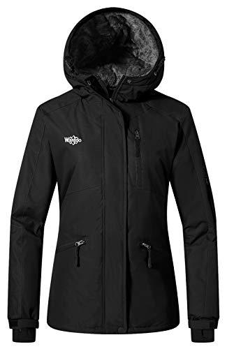 Wantdo Women's Hooded Ski Fleece Jacket Mountain Softshell Hiking Coat Black M