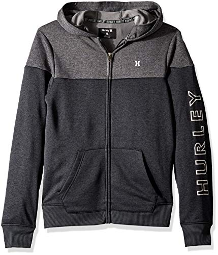 Hurley Boys' Big Solar Zip Up Hoodie, Black Heather/Grey