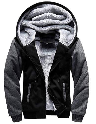 Little Beauty Men's Winter Thicken Fleece Sherpa Lined Zip Up Hoodie