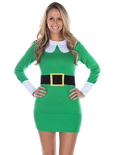 Tipsy Elves Women's Ugly Christmas Sweater - Elf Sweater Dress
