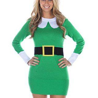 Tipsy Elves Women's Ugly Christmas Sweater - Elf Sweater Dress