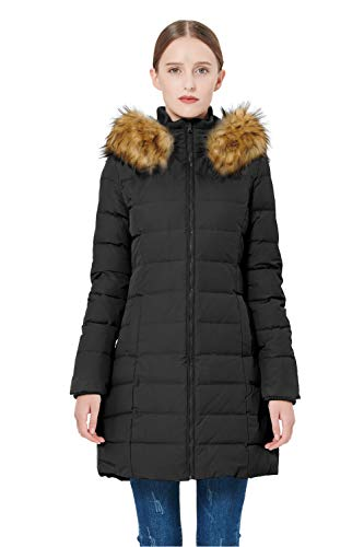 Orolay Women's Thickened Down Jacket Winter Coat (L, Black)