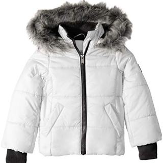 Calvin Klein Little Girls Puffer Jacket, Glacial White