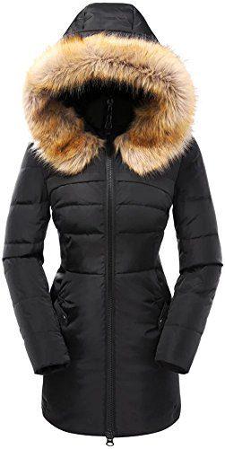 Beinia Valuker Women's Down Coat with Fur Hood 90D Parka Puffer Jacket 57-Black-L