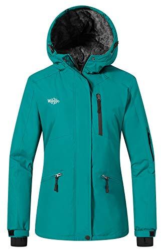 Wantdo Women's Waterproof Skiing Jacket Cotton Padded Raincoat Dark Blue M