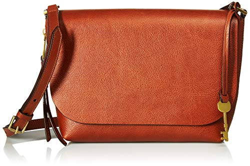 Fossil Women's Maya Leather Small FlapCrossbody Handbag, Brown