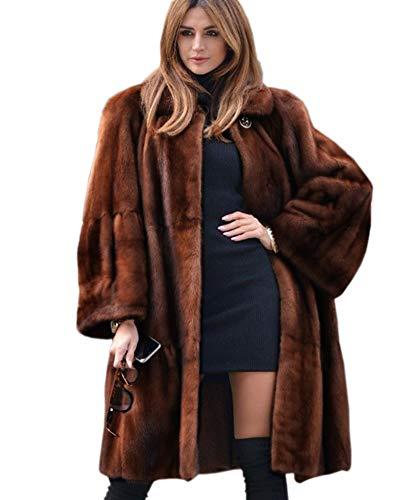 Aofur Luxury Faux Fur Parka Coat Long Lapel Trech Jacket Winter