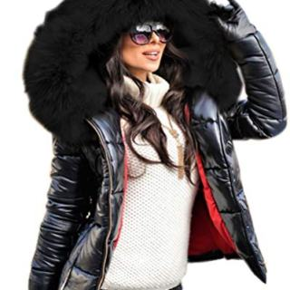 Aofur Womens Ladies Quilted Winter Coat Fur Collar Hooded Down Jacket