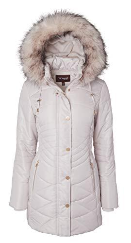 Women Longer Length Plush Lined Quilted Winter Puffer Coat Zip-Off Fur Trim Hood - Angora (Medium)