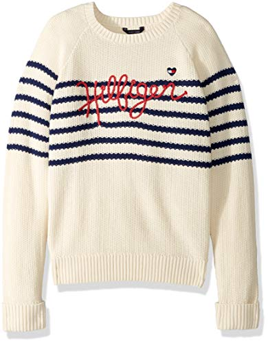 Tommy Hilfiger Big Girls' Pullover Fashion Sweater, Seed Pearl